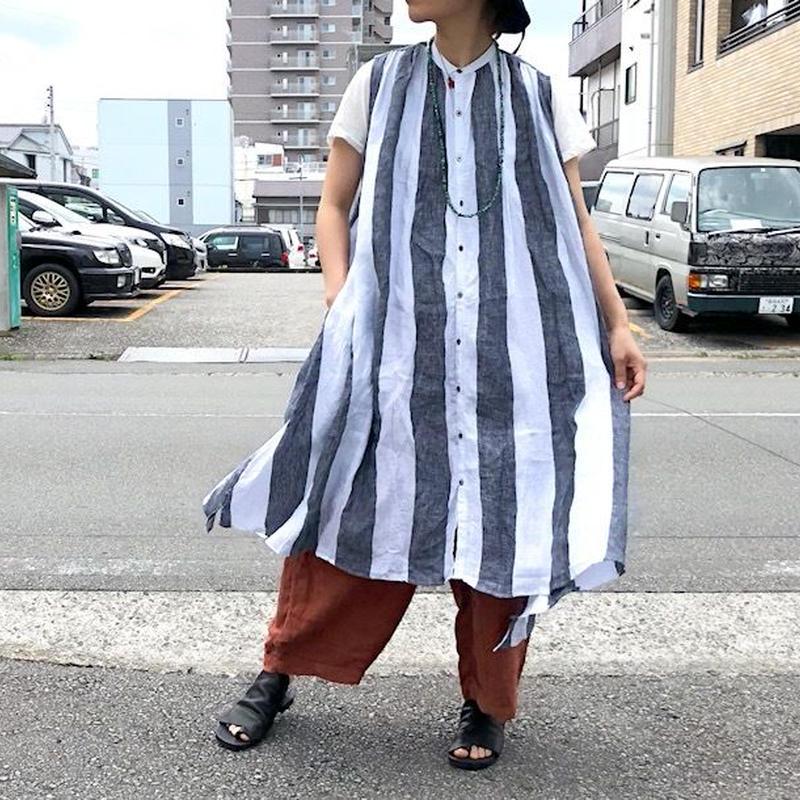 UNIVERSAL TISSU (ユニバーサルティシュ)/ワイドストライプ ギャザーシャツドレス/ホワイトストライプ