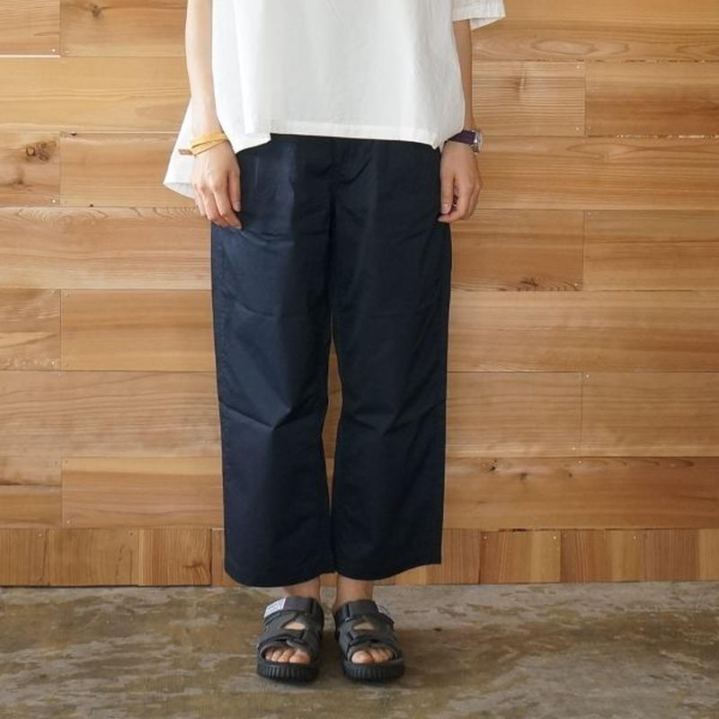 SETTO(セット)/ GIZA COTTON WIDE TUCK PANTS ネイビー