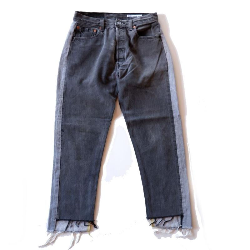 Sunny side up(サニーサイドアップ)/2 for 1 Front Low Black Denim /size:S/2-B