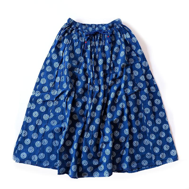 TIGRE BROCANTE( ティグルブロカンテ)/ブロックプリントインディゴツリーダブルロングギャザースカート