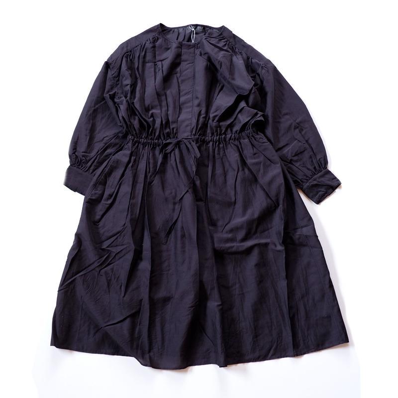 UNIVERSAL TISSU (ユニバーサルティシュ)/COTTON SILK GATHER DRESS/Black