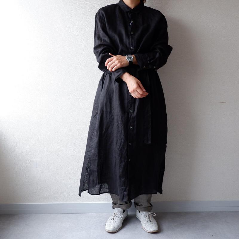 UNIVERSAL TISSU (ユニバーサルティシュ)/リネンロングシャツドレス/black