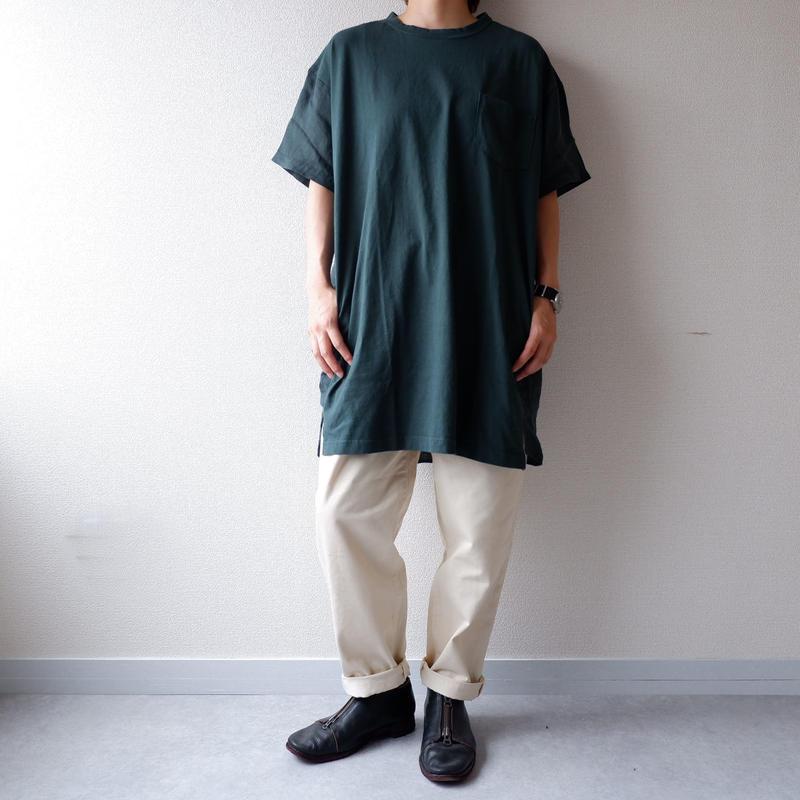 UNIVERSAL TISSU (ユニヴァーサルティシュ)/アメリカンコットンリネンコンボTシャツ/グリーン