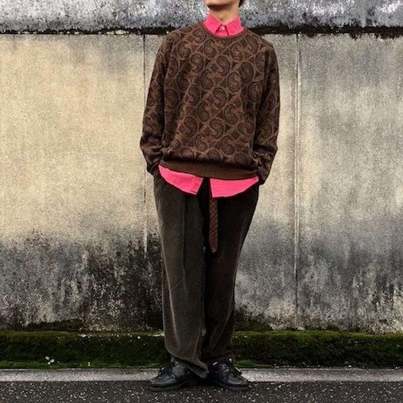 big paisley柄 sweater/Italy製/used/usa古着