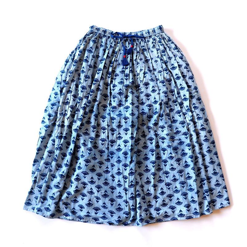 TIGRE BROCANTE( ティグルブロカンテ)/ブロックプリントインディゴフラワーダブルロングギャザースカート