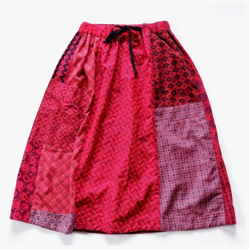 TIGRE BROCANTE ティグルブロカンテ ロータスシャツMIX ONEポケットスカート レッド