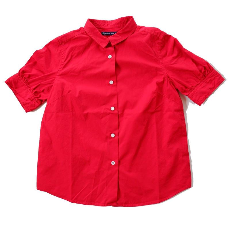 TIGRE BROCANTE (ティグルブロカンテ)/  ブロードギャザー5分袖シャツ/red