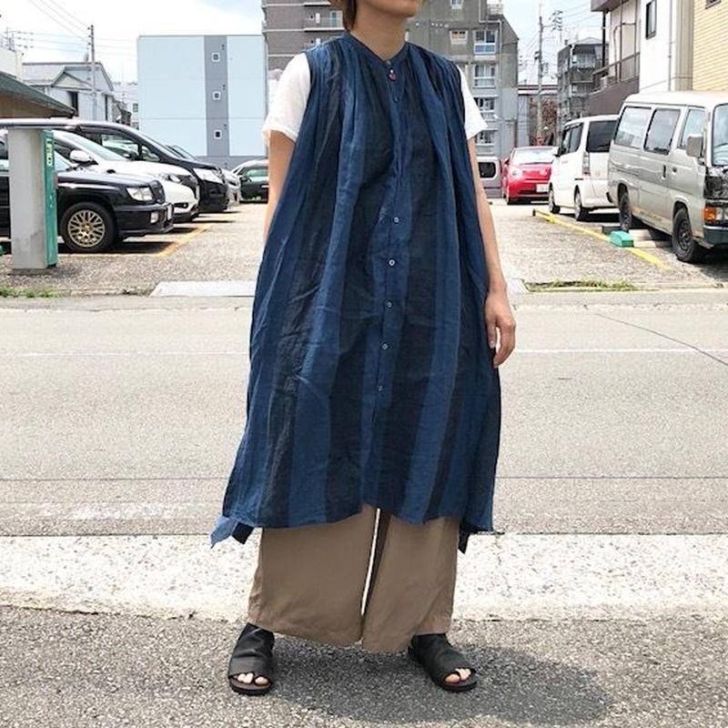 UNIVERSAL TISSU (ユニバーサルティシュ)/ワイドストライプ ギャザーシャツドレス/ネイビーストライプ
