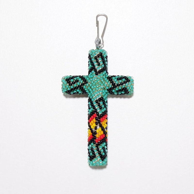 ☆Tシャツにこれ♪☆INDIAN JEWELRY/ beads cross necklace top/navajo/ green