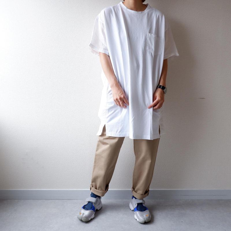 UNIVERSAL TISSU (ユニヴァーサルティシュ)/アメリカンコットンリネンコンボTシャツ/ホワイト