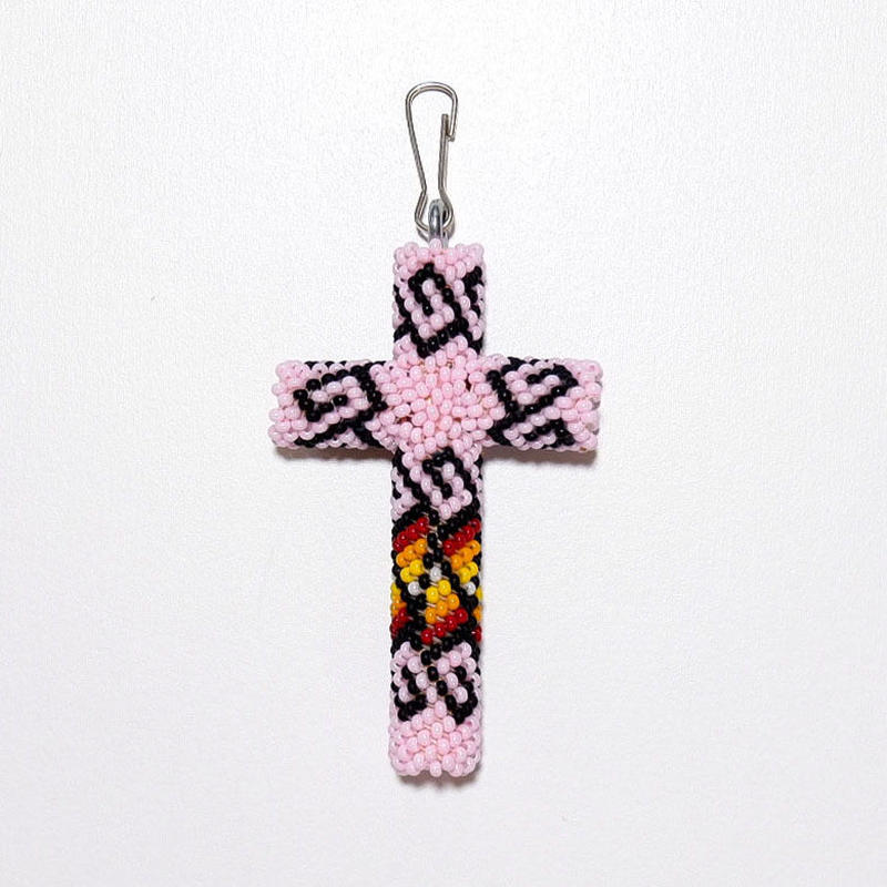 ☆女性にもお奨めです☆INDIAN JEWELRY/  beads cross necklace top/navajo/ pink