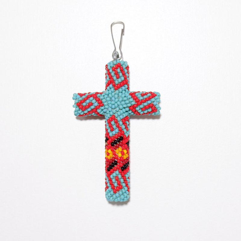 ☆珍しい大きめサイズです☆INDIAN JEWELRY/ beads cross necklace top/navajo/ Black