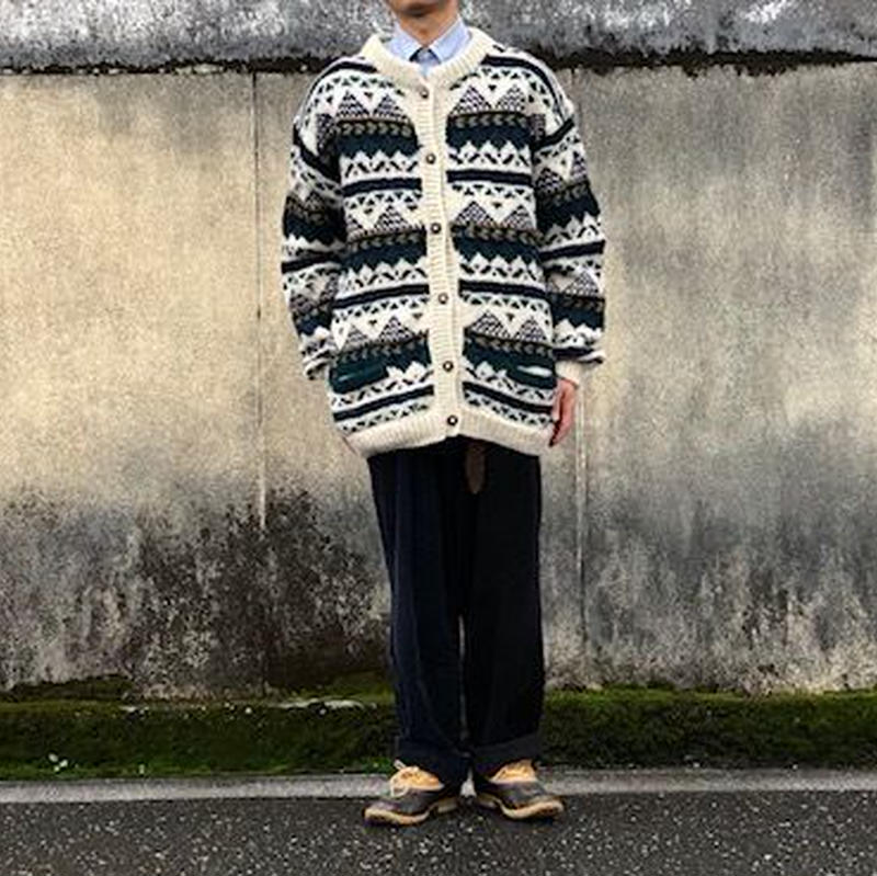 hand knit sweater 総柄/used/usa古着