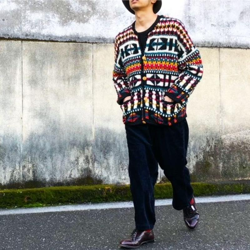 総柄 wool knit cardigan /mulchcolor/USA古着/USED