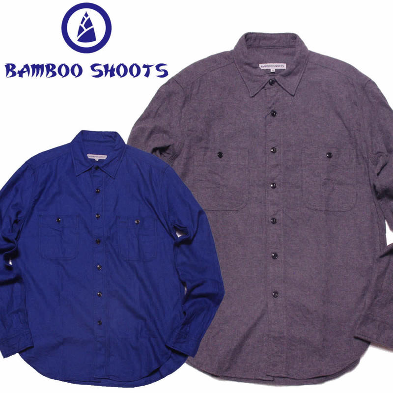 (バンブーシュート)BAMBOO SHOOTS  Solid Flannel Work Shirt