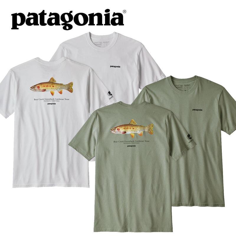 (パタゴニア)Patagonia Mens Greenback Cutthroat World Trout Responsibili Tee