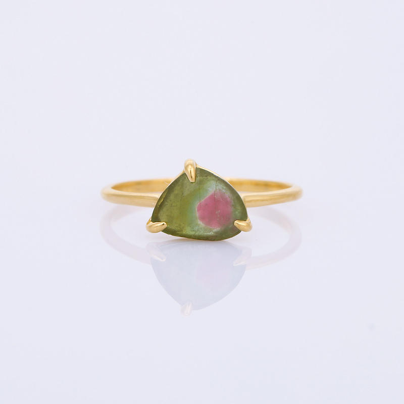 broad triangle watermelon tourmalineリング