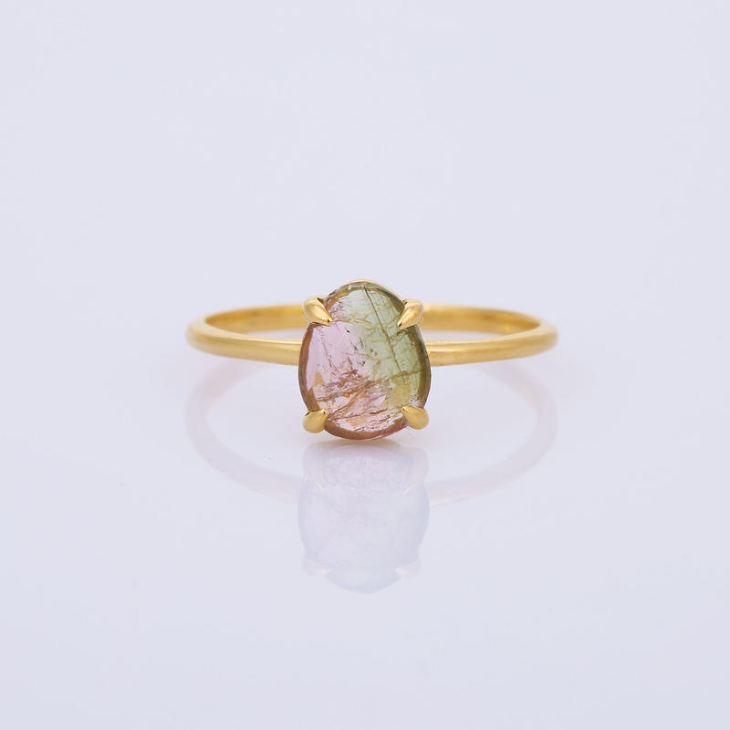 oval pink green bi-color tourmalineリング
