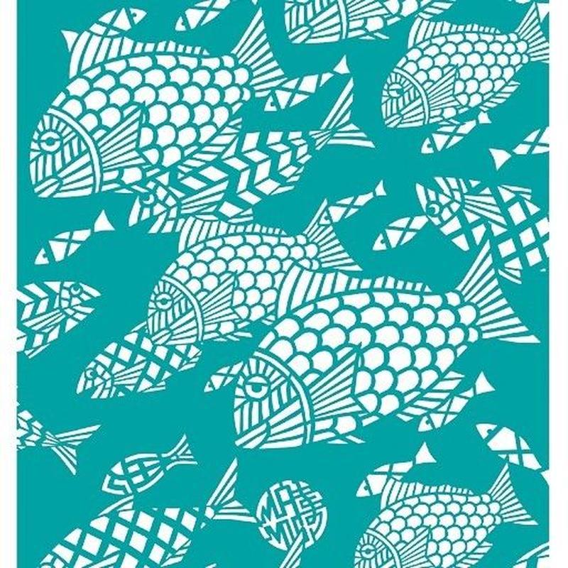 手ぬぐい「Let's 魚(ターコイズ)」