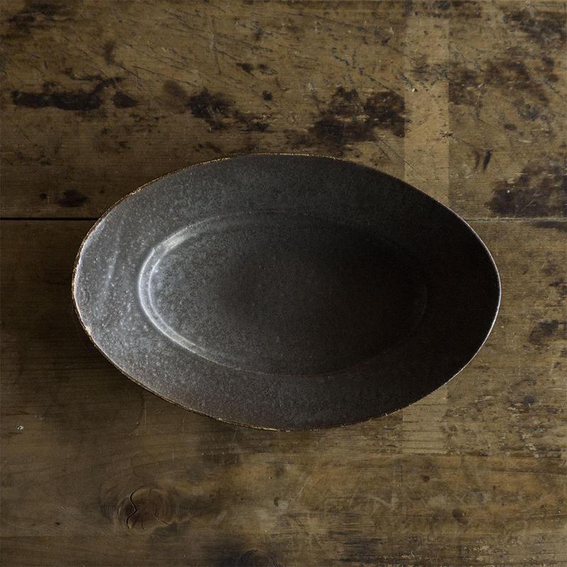 林拓児 黒釉楕円皿(中)