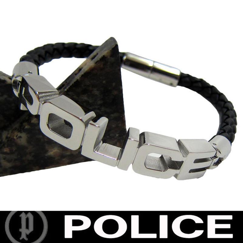 POLICE ポリス ロゴ レザーブレスレット  (Q)