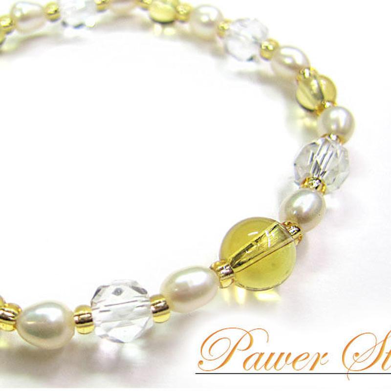 天然石 パワーストーン レディース ブレスレット 天然水晶×淡水パール×黄水晶(4)