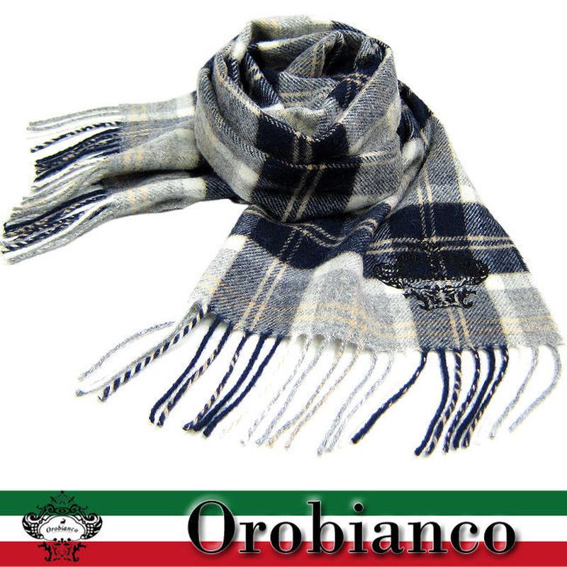 Orobianco オロビアンコ マフラー タータンチェック柄 ロゴ刺繍入り KU0499 紺/グレー (182)