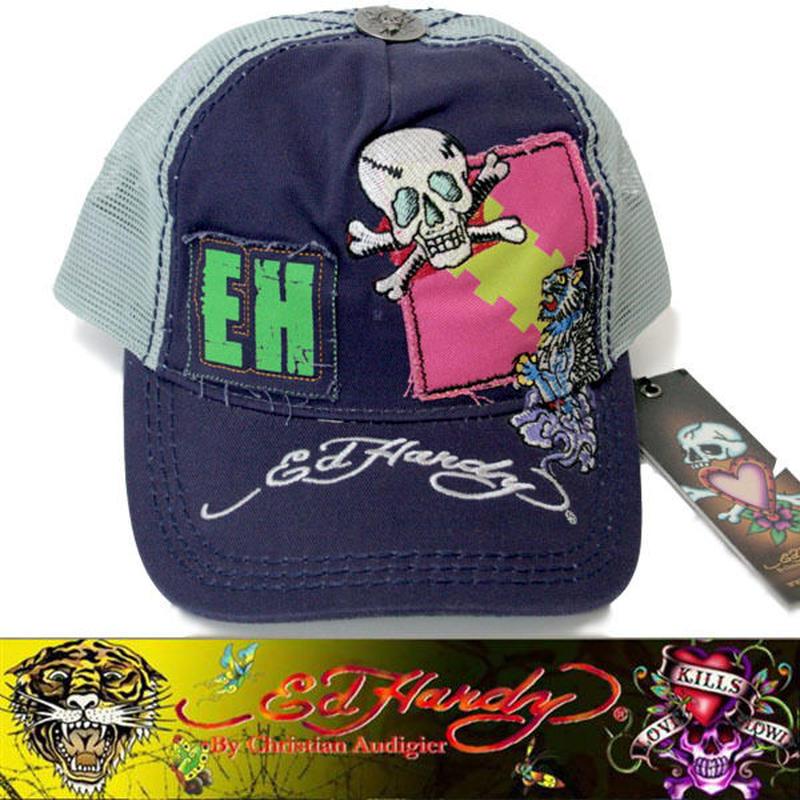Ed Hardy エドハーディー EWS CAP キャップ SMALL SKULL パープル×グレー (33)