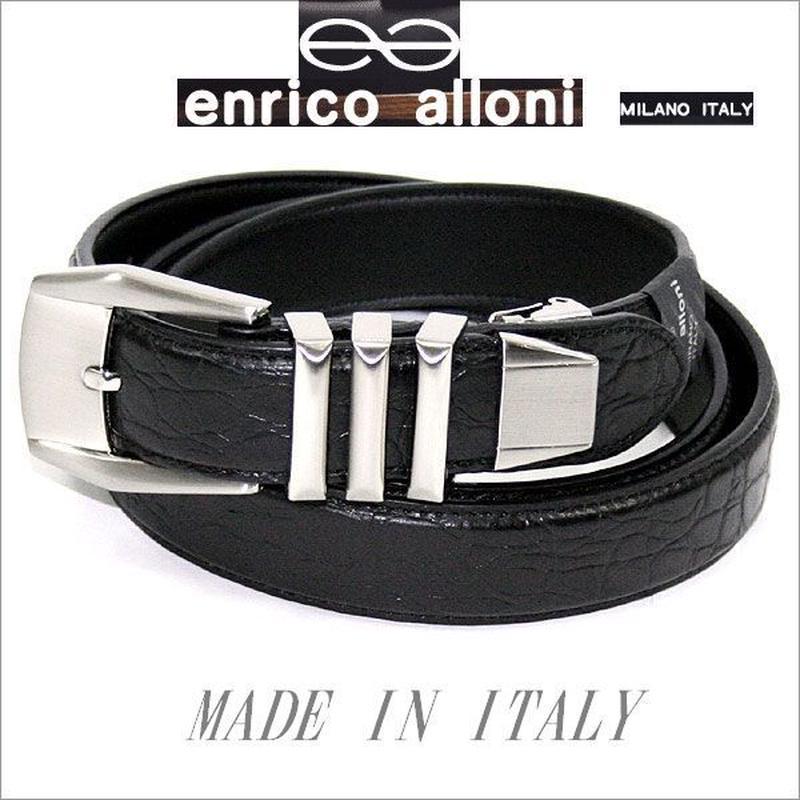 ENRICO ALLONI エンリコ・アローニ クロコ型押 牛革3連ベルト 選択 (つやあり)