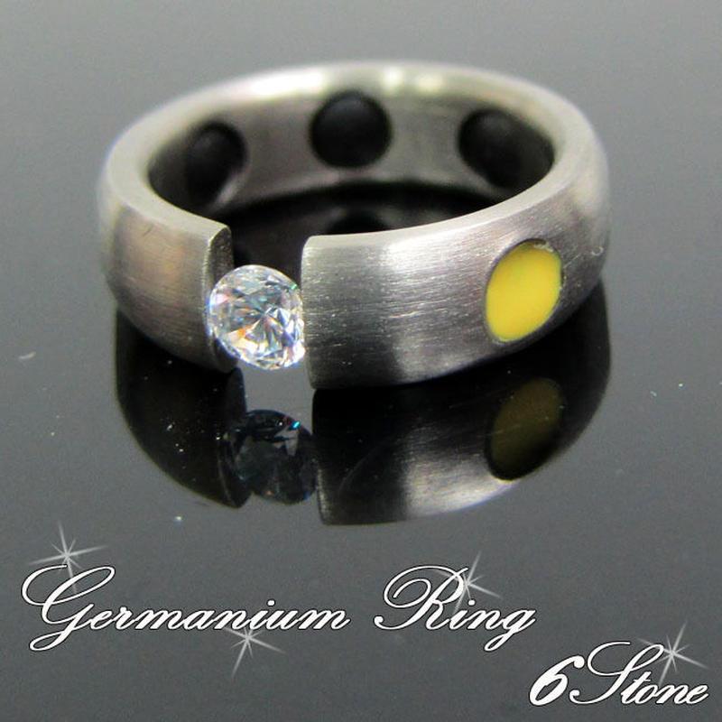 6石 ゲルマニウム ストーン付き 指輪 リング 健康 アクセサリー 男女兼用 10号 黄(25)