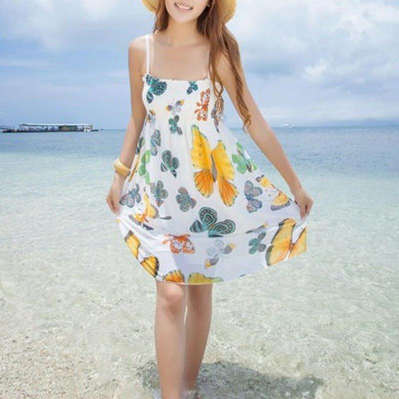 リゾートキャスト◆蝶柄 花柄 ピクチャーカラー2色 ワンピース