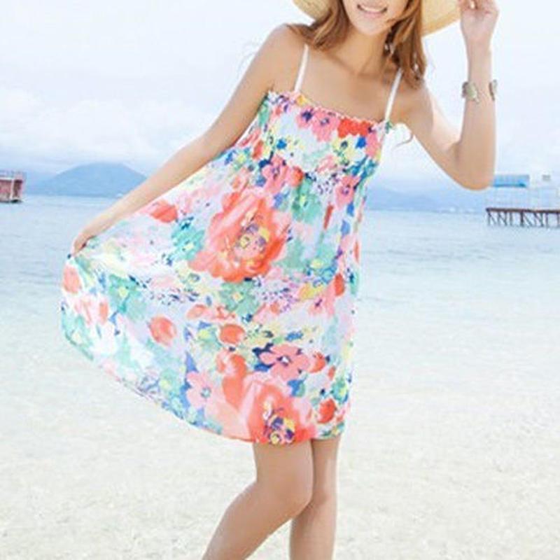リゾートキャスト◆鮮やかな花柄 ピクチャーカラー2色 ワンピース