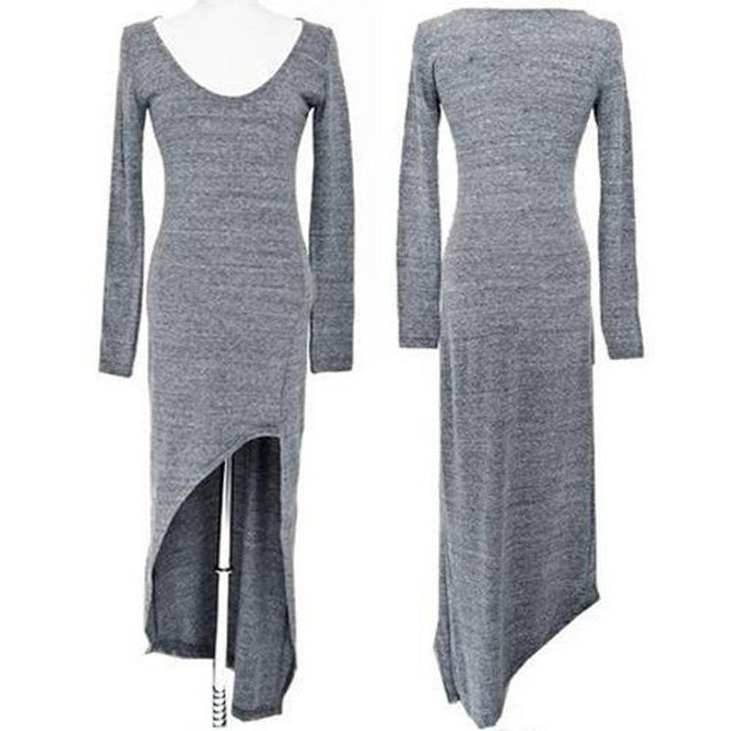 ヒートステージ★裾の長さが不規則な長袖ワンピース★ブラックとグレイ