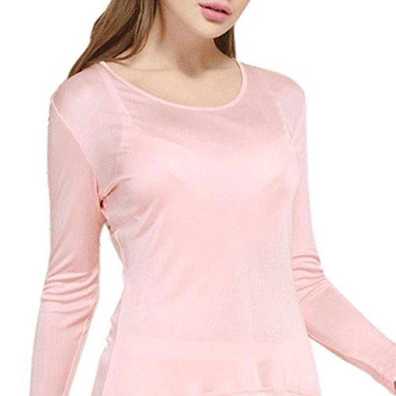 ピュアシルク100% シルク パジャマ 下着 上下セット レディース 防寒 保温 保湿 抗菌 <ライトピンク>