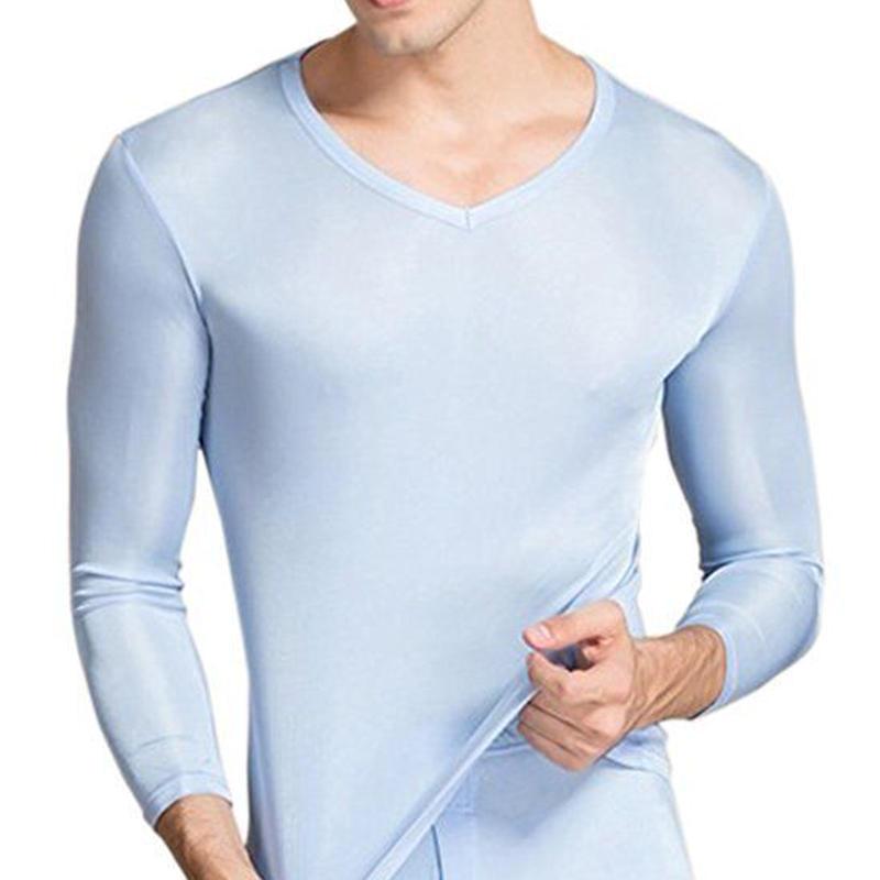 ピュアシルク100% シルク シルクニット パジャマ インナー 前あき 下着 上下セット メンズ 防寒 保温 保湿 抗菌 <スカイブルー>