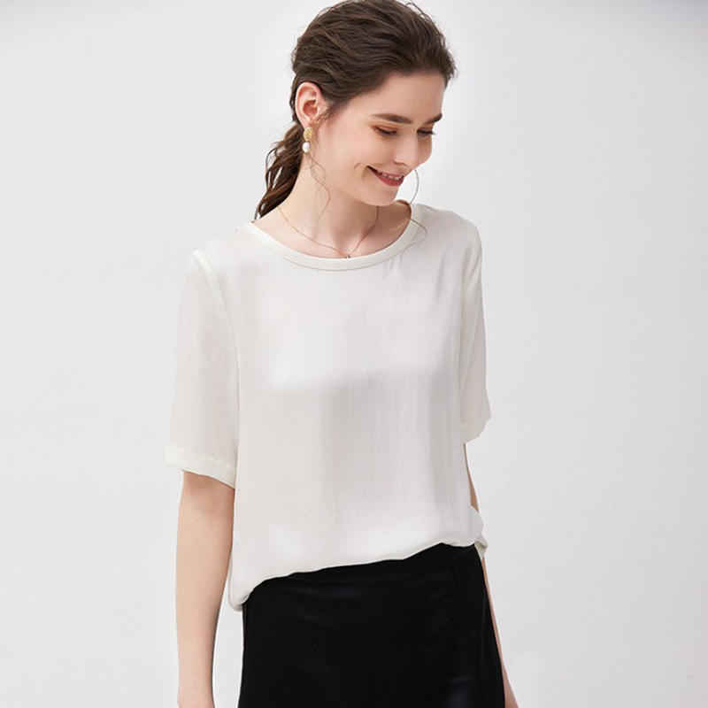 (MAYUDAMAシルク)ピュアシルク100% 厚手 16匁 シルク Tシャツ シルクサテン ラウンドネック ゆったり エレガント 半袖 ホワイト 白 ピンク レディース <ホワイト>