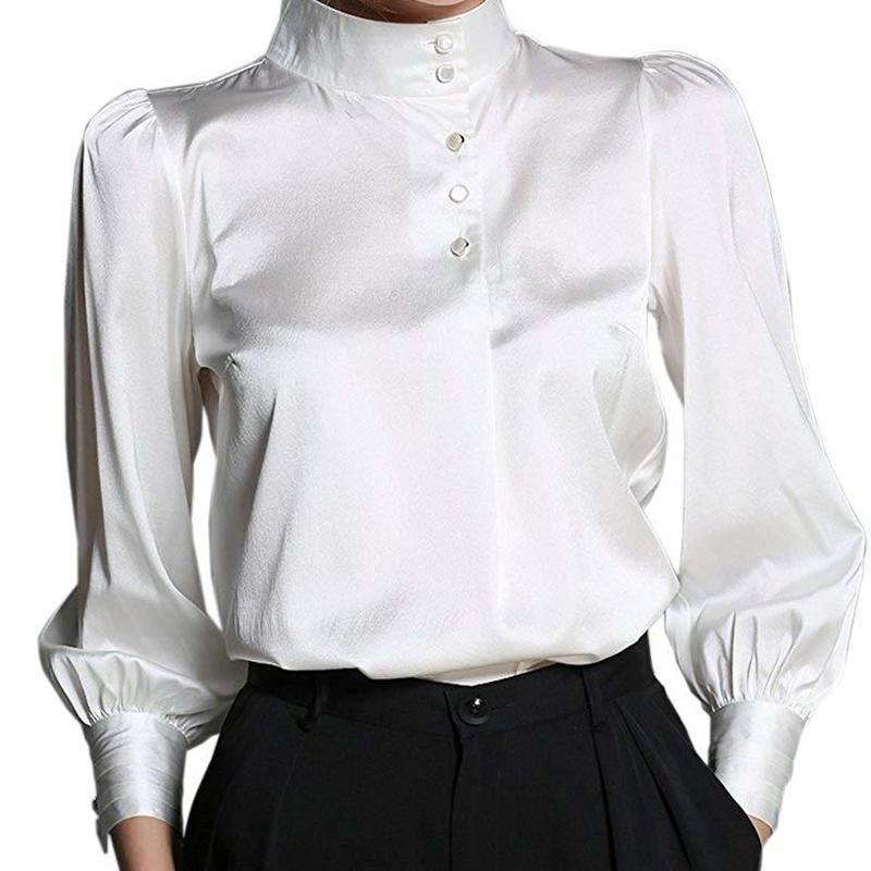 (MAYUDAMAシルク) 高級シルク 19匁 弾性シルク シルクシャツ ブラウス ビショップスリーブ ランタンスリーブ シンプル 優雅 エレガント 長袖 レディース <ホワイト>