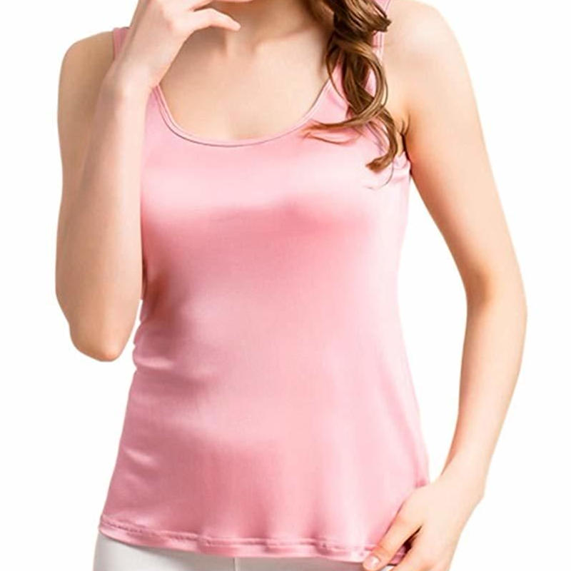 滑らか さらさら トリコットシルク ピュアシルク100% カップ付き タンクトップ インナー レディース 選べるサイズ・カラー <ピンク>