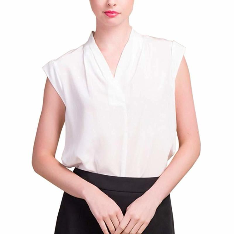 (MAYUDAMAシルク) シルク100% シルクシャツ ブラウス Vネック ノースリーブ シルクシフォン ゆったり エレガント 通勤 春・夏  <ホワイト>