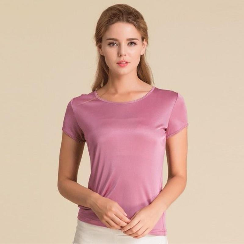 (MAYUDAMAシルク)シルク100% シルクニット 半袖 Tシャツ レディース 大きいサイズ 選べるサイズ・カラー <オーキッドピンク>