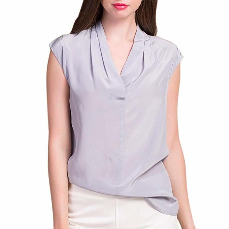 (MAYUDAMAシルク) シルク100% シルクシャツ ブラウス Vネック ノースリーブ シルクシフォン ゆったり エレガント 通勤 春・夏  <グレー>