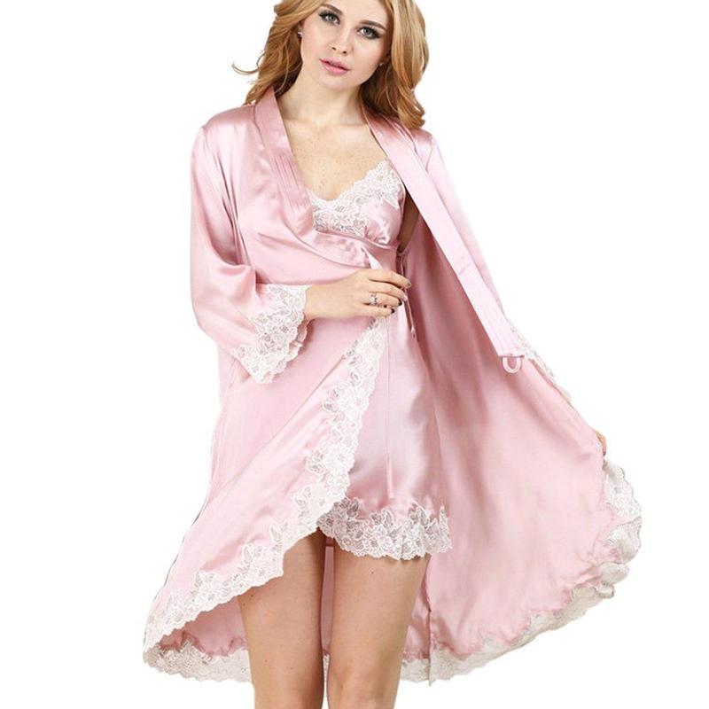 (MAYUDAMAシルク)シルク スリップ ガウン 絹100% 刺繍レース インナー キャミソール 優雅 パジャマ ネグリジェ 2ピースセット <ピンク>
