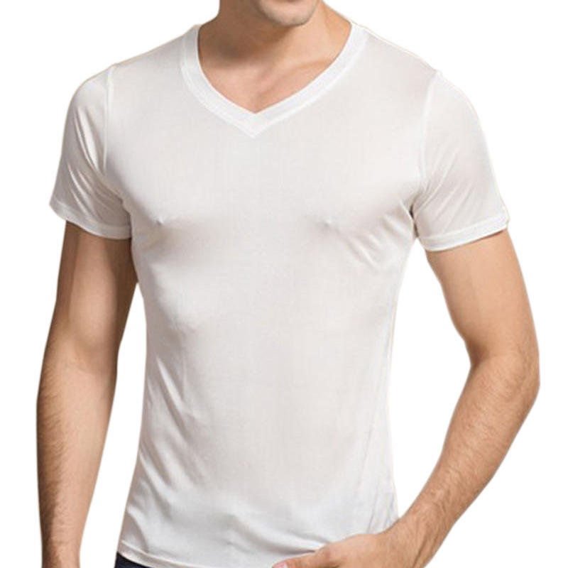 (MAYUDAMAシルク)シルク100% シルク tシャツ メンズ Vネック 通気性抜群 絹100% 半袖 無地 天然の抗菌・防臭・吸水速乾 <ホワイト>