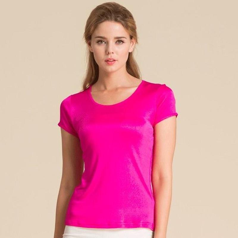 (MAYUDAMAシルク)シルク100% シルクニット 半袖 Tシャツ レディース 大きいサイズ 選べるサイズ・カラー <ローズ>