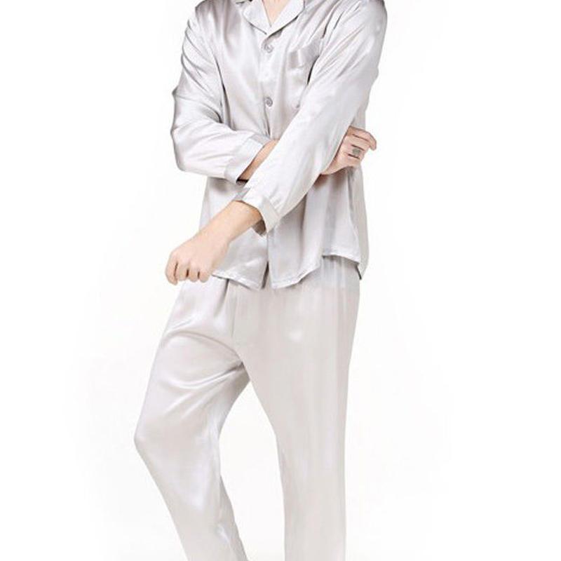 (MAYUDAMAシルク)シルク100% ピュアシルク 男性 メンズ 紳士 パジャマ 長袖 トラックスーツ ルームウェア 部屋着 上着 パンツ 2ピースセット <グレー>