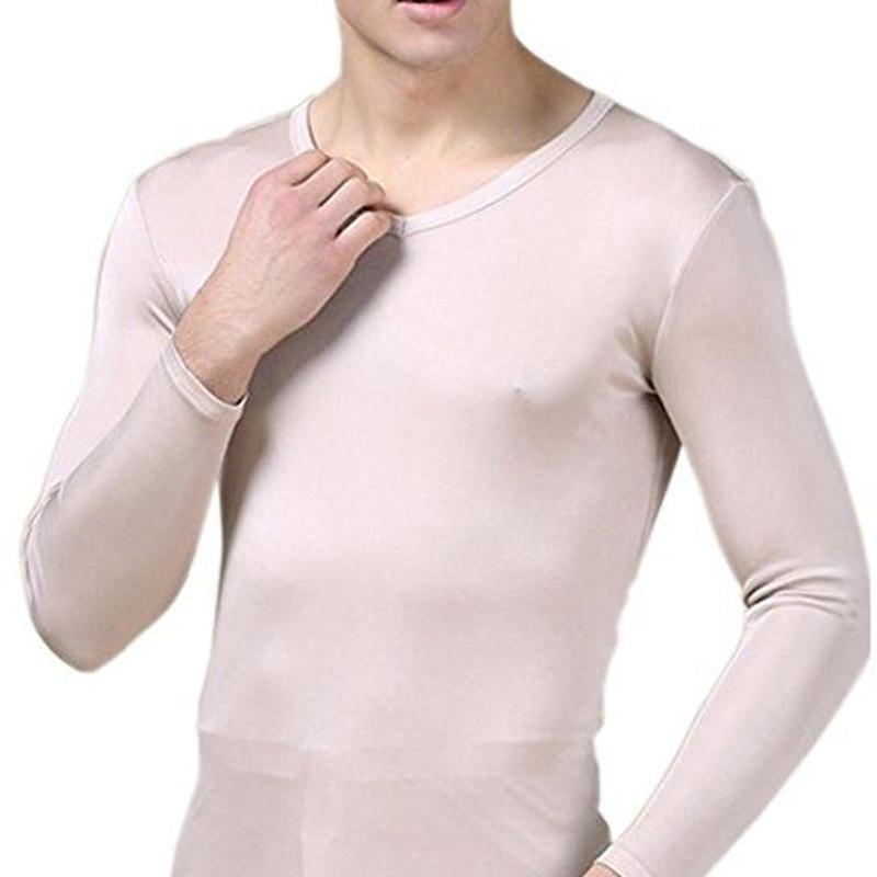ピュアシルク100% シルク シルクニット パジャマ インナー 前あき 下着 上下セット メンズ 防寒 保温 保湿 抗菌 <ベージュ>