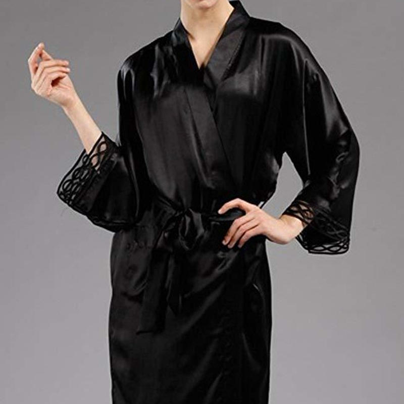 (MAYUDAMAシルク) シルク ガウン ローブ スリップ 2ピース セット 絹100% 胸元チュール レース インナー キャミソール バスローブ レディース シンプル ベーシック <ブラック>