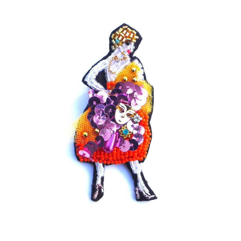 仮面舞踏会 | ビーズブローチ