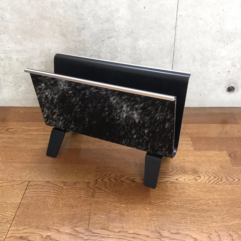 MB7r MAGAZINE RACK HAIR ON HIDE LEATHER BLACKxWHITE