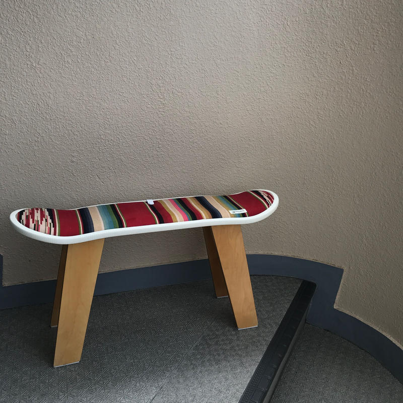 "【サンプル】MB7r SKATE DECK STOOL ""SOUTHWESTERN STRIPE"" NATURAL WOOD BASE"